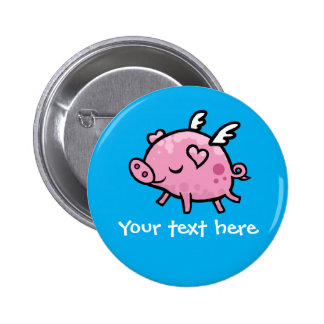 Flying pig customisable button badge