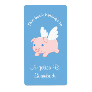 Flying Pig - Cute Piglet with Wings Bookplate