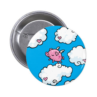 Flying pig dances on clouds 6 cm round badge