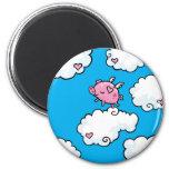 Flying pig dances on clouds 6 cm round magnet