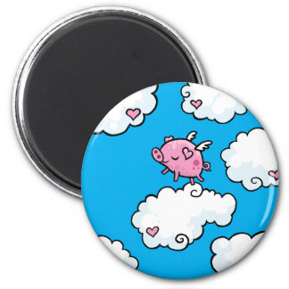 Flying pig dances on clouds 6 cm round magnet
