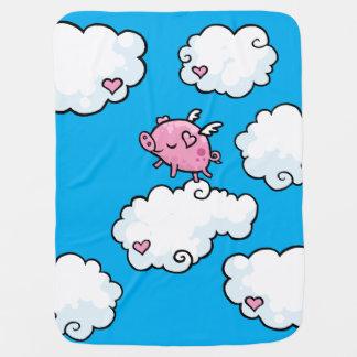 Flying pig dances on clouds baby blanket
