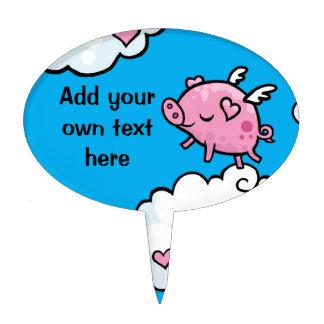 Flying pig dances on clouds cake picks