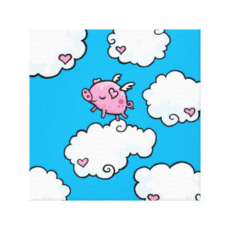 Flying pig dances on clouds canvas print