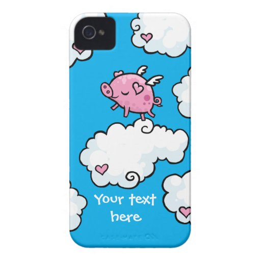 Flying pig dances on clouds iPhone 4 Case-Mate cases