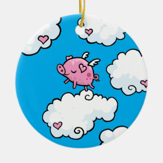 Flying pig dances on clouds christmas ornament