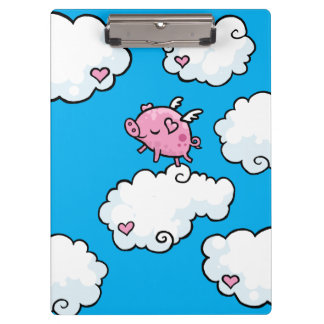 Flying pig dances on clouds Clipboard
