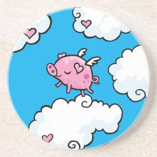 Flying pig dances on clouds coaster