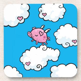 Flying pig dances on clouds cork coaster