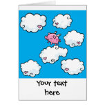 Flying pig dances on clouds customisable card