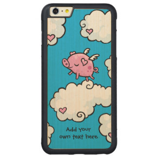 Flying Pig Dances on Clouds Customisable Carved Maple iPhone 6 Plus Bumper Case