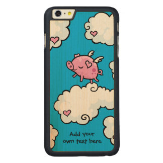 Flying Pig Dances on Clouds Customisable Carved® Maple iPhone 6 Plus Case