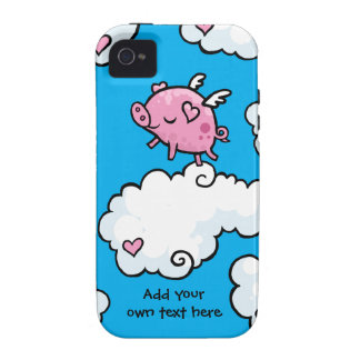 Flying Pig Dances on Clouds Customisable iPhone 4 Case