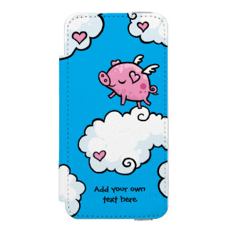 Flying Pig Dances on Clouds Customisable Incipio Watson™ iPhone 5 Wallet Case