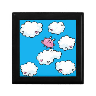 Flying pig dances on clouds gift box