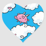 Flying pig dances on clouds heart sticker
