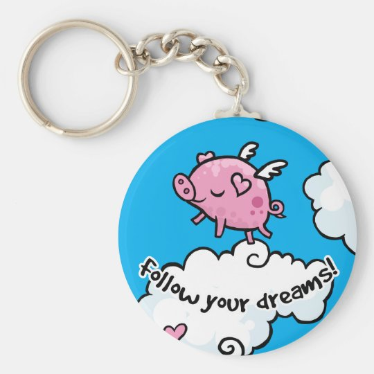 Flying pig dances on clouds key ring
