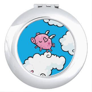 Flying pig dances on clouds makeup mirror