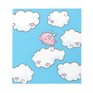 Flying pig dances on clouds note paper