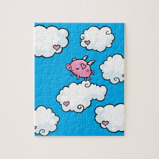 Flying pig dances on clouds puzzle