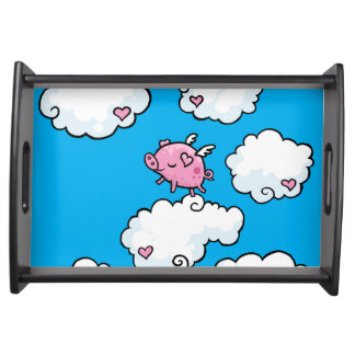 Flying Pig dances on clouds Serving Tray