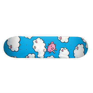 Flying pig dances on clouds skateboard decks