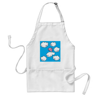 Flying pig dances on clouds standard apron