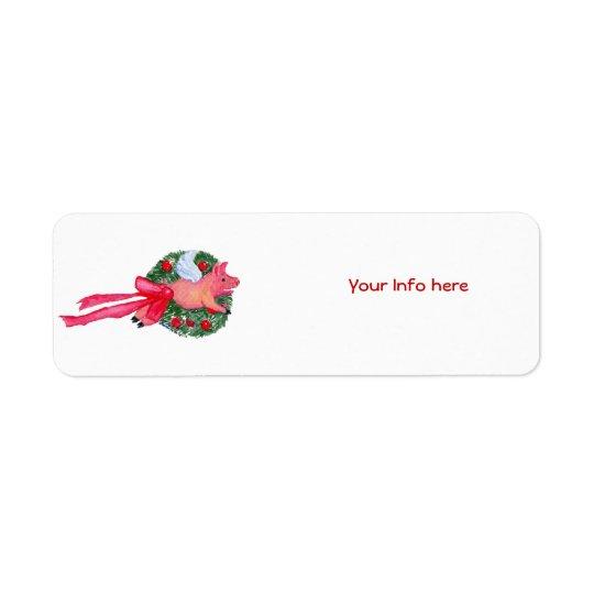 Flying Pig Dragging Christmas Wreath Label Return Address Label