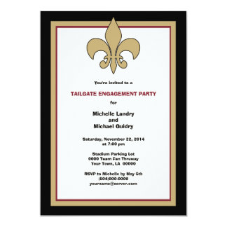 Flying Pig Fleur de Lis Black Gold Engagement 13 Cm X 18 Cm Invitation Card