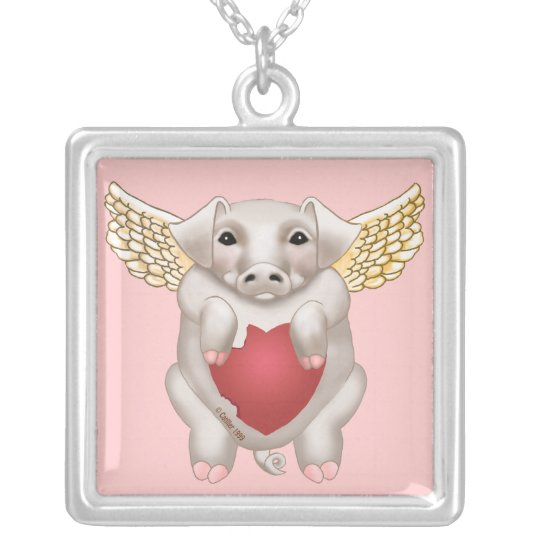 Flying Pig Love square necklace