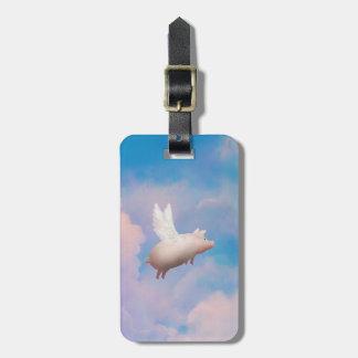 flying pig luggage tag