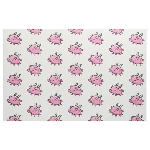 Flying pig pattern fabric