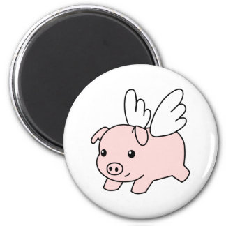 Flying Pig - Piglet with Wings 6 Cm Round Magnet