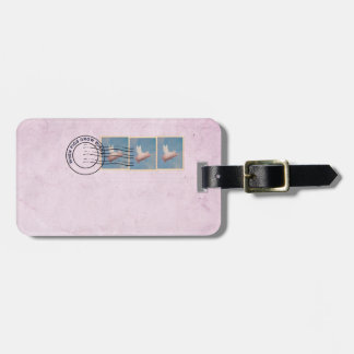 flying pig postage stamp luggage tag