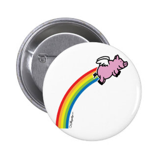 Flying Pig Rainbow 6 Cm Round Badge