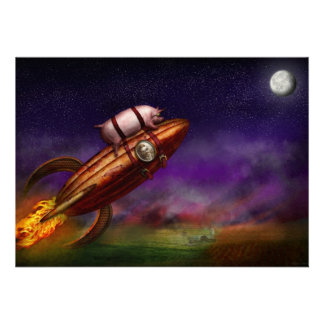 Flying Pig - Rocket - To the moon or bust Personalized Invitations
