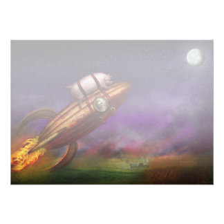 Flying Pig - Rocket - To the moon or bust Personalized Announcements