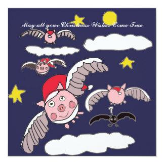 Flying Pig Santa Card