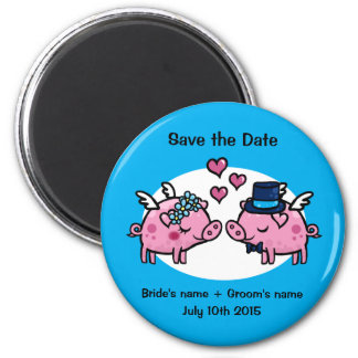 Flying Pig Save the Date 6 Cm Round Magnet
