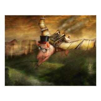 Flying Pig - Steampunk - The flying swine 21.5 Cm X 28 Cm Flyer