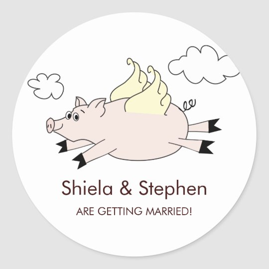 Flying Pig Stickers / Cupcake Toppers