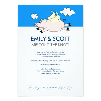 Flying Pig Wedding Invitation