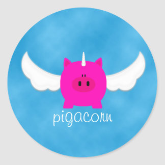Flying Pigacorn Classic Round Sticker