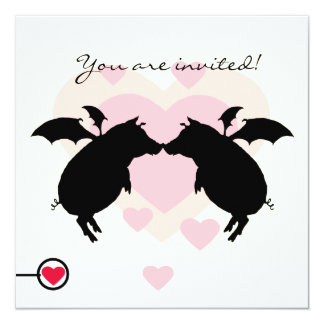 Flying piggies 13 cm x 13 cm square invitation card