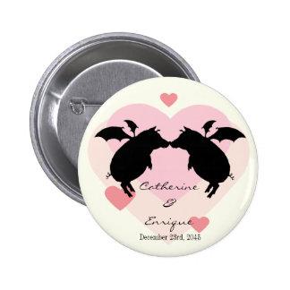 Flying piggies 6 cm round badge