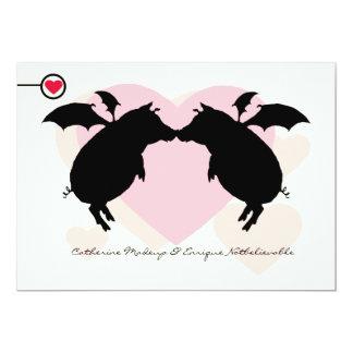 "Flying piggies 5"" x 7"" invitation card"