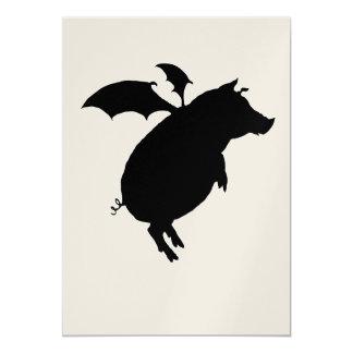 Flying piggy 13 cm x 18 cm invitation card