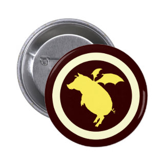 Flying piggy 6 cm round badge