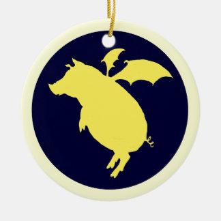 Flying piggy christmas ornament