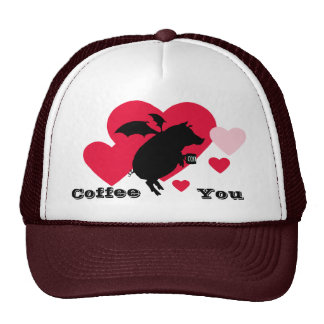 Flying piggy with coffee trucker hats